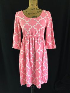 Lolly Wolly Doodle womens size M dress pink white geometric tunic empire NICE…