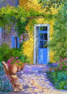 Peinture La porte bleue. Provence
