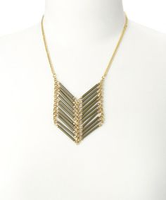Look what I found on #zulily! Black & Gold Chevron Bar Pendant Necklace by ZAD #zulilyfinds