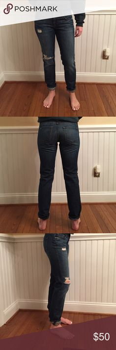 J Brand distressed boyfriend cut denim J Brand denim. Size 26. Medium blue, distressed boyfriend/straight leg fit. J Brand Jeans Boyfriend