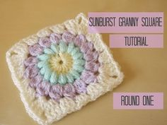 CROCHET: Sunburst granny square tutorial, ROUND FOUR, Bella Coco. Sunburst granny square tutorial round 4 in UK terms with US references throughout Round One: . Round Two: . Granny Square Pattern Free, Granny Square Häkelanleitung, Granny Square Tutorial, Granny Square Crochet Pattern, Crochet Squares, Crochet Granny, Crochet Motif, Diy Crochet, Crochet Crafts
