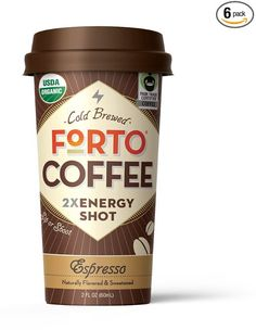 FORTO - Espresso (6pck) - Coffee Energy Drink (200mg caffeine) - pure strong coffee, 2oz. handheld bottle, Organic and Fair Trade certified, 100% Arabica beans, Cold Brew for deliciously-smooth taste. **Share in our Love of Strong Coffee!**
