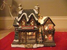 Lemax Porcelain lighted Christmas Tree Village House Aspen Ski ...