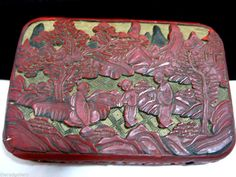 Unique Antique Chinese Cinnabar Hand Carved Lacquer Box Red White Black