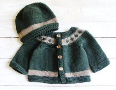Baby Boy Clothes - Infant Boy Layette Set - Forest Green Sweater Set Hand…
