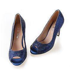 >> Click to Buy << Handmade full rhinestone diamond navy blue woman heels bridal wedding party pumps dark blue evening banquet shoes small big size #Affiliate