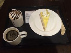 Lemon tart & coffe in espresso haus