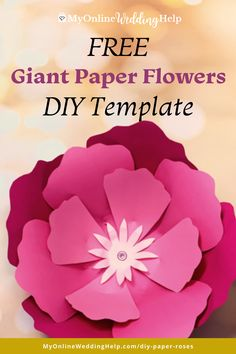 Free paper flowers DIY template and tutorial. This giant rose like flower is ideal for fun craft project. Or wedding decor. See the full step-by-step instructions and a downloadable template on the MyOnlineWeddingHelp.com blog. Diy Wedding Backdrop, Diy Wedding Flowers, Diy Wedding Decorations, Diy Flowers, Wedding Crafts, Giant Paper Flowers, Paper Roses, Wedding Ideas Do It Yourself, Book Page Roses