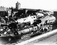 The scene of devastation after the Quintinshill rail disaster that occurred 100 years ago today. The incident involved five trains and over 200 people perished, many of them soldiers of the Leith Battalion, the Royal Scots heading for Gallipoli. Steam Trains Uk, Train Art, British Rail, Birmingham, Britain, Steam Locomotive, Disused Stations, Railroad Pictures, Railroad History