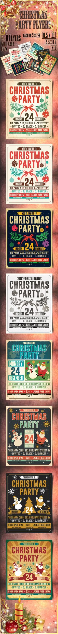Buy Christmas Retro Party Flyer by on GraphicRiver. 8 Retro Christmas party flyers which come in 3 sizes CMYK mode with bleed and – – All elem. Holidays Music, Holidays And Events, Retro Christmas, Holiday Fun, Christmas Flyer Template, Snowman Tree, Retro Party, Vintage Winter, Party Flyer