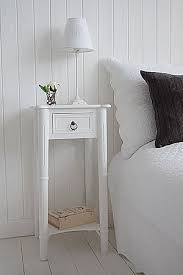 Tall, narrow bedside table to go with tall bed. New England white bedside table with one drawer and shelf, wnatique brass handle. Furniture, White Bedside Table, Narrow Bedside Table, White Bedroom Furniture, Home Furniture, Bedroom Door Design, Tall Side Table, Bedroom Decor, Small Bedside Table