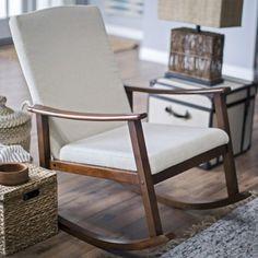 Belham Living Holden Modern Indoor Rocking Chair - Upholstered - Buttercream - Indoor Rocking Chairs at Hayneedle