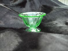 Elegant Green Glass Salt Cellar Open Salt Fluted Design