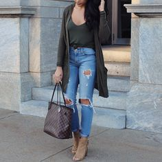 Fall outfit. Olive cardigan. Girlfriend jeans. Peep toe booties. Louis Vuitton Neverfull Damier Ebene.