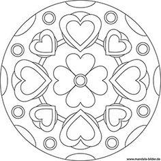 Mandala Vorlage mit Herzen und einer Blume