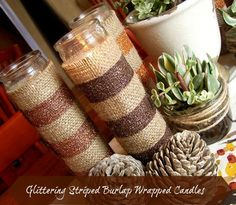 glittering striped burlap candle wraps, crafts, decoupage, seasonal holiday d cor, These burlap beauties are a great addition to your Fall decor or change up the glitter colors for any holiday
