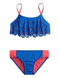 Cutout Flounce Bikini Swimsuit ~ shopjustice.com ~ OMG I need this!!! Most of my new bathing suits are kinda showy if you know what I mean. This one is not a turtle neck (LOL) but isn't a V neck either. I love it. The rest of my bathing suits are way way way too small.