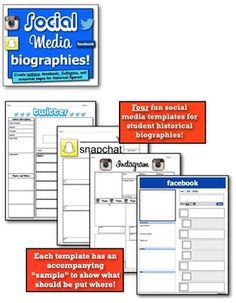 SOCIAL MEDIA BIOGRAPHIES! TWITTER, FACEBOOK, SNAPCHAT, AND INSTAGRAM TEMPLATES! - TeachersPayTeachers.com