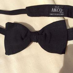Vintage silk bow tie Mid Century Arko black tie by coolclobber on Etsy