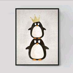 2 Penguins Cartoon Canvas Art Print (without frame)