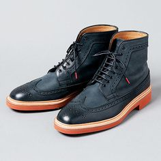quality design e5823 1a668 Navy wingtip boots Top Shoes, Dress Shoes, Men s Shoes, Shoe Boots, Mens