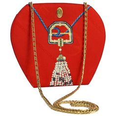 cea31771d57c Les Must de Cartier Red Silk Jewel Necklace Design Gold Chain Clutch bag |  From a. 1stdibs.com