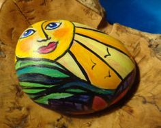 Happiness and Sunshine painted  Stone
