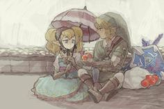 Agitha (the girl who wants to organize a ball for the Golden Bugs), and Link from Twilight Princess