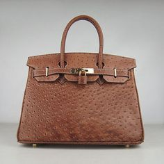 Hermes Birkin 30cm Ostrich vein Handbags light coffee golden
