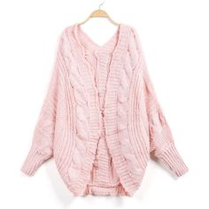 Pink Long Sleeve Cable Knit Loose Cardigan ($22) ❤ liked on Polyvore featuring tops, cardigans, cardigan top, pink top, loose cardigan, loose fitting tops and cut loose tops