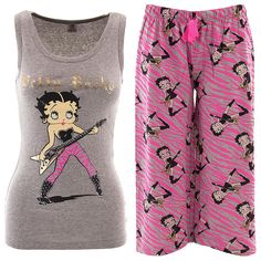 Betty Boop Rock Gray Pink Capri Pajamas for Women - Click to enlarge