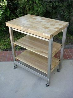 Vintage Industrial Kitchen Work Table | Open Kitchen/TV Room ...