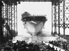 The aircraft carrier USS Enterprise (CV-6), the Yorktown class, at its launch in October 1936, and at Ford Island, Pearl Harbor, Hawaii, in May 1942, ready to go for the Battle of Midway. Its home port was San Diego and was then sent to Pearl Harbor on the orders of President Franklin Delano Roosevelt. Aircraft carrier and squadrons of planes led to it extensively and it also served as a conveyor of airplanes between different bases in the Pacific.