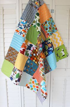 Baby Blanket - Unisex Baby Blanket - I Spy; mix kid pattern squares w/mature pattern squares