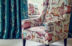 G P and J Baker - Menagerie fabric on chair
