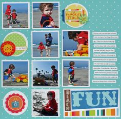 American Crafts Paper At the Beach scrapbook layout