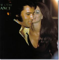 Elvis and Priscilla Presley, attending a Tom Jones show at Caesar's Palace in mid-October 1970.