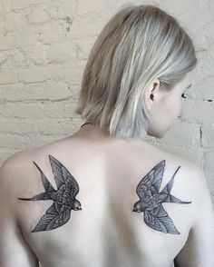 Swallow back tattoo for girl - 100  Lovely Swallow Tattoos  <3 <3