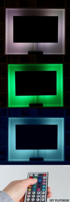 Add LED lights to the back of your TV for a cool lighting look. Loving this super easy DIY project that makes your home just a little cooler.