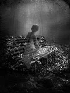Lucy Reynolds | Musetouch | spooky | ghost | black & white | photography | art | dream | other world | ghostly | park bench |
