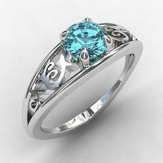 Floral Aquamarine Engagement Ring in White Gold Diamond Pebble Ring Jewelry Rings, Jewelery, Jewelry Accessories, Pretty Rings, Beautiful Rings, Bling Bling, Lace Ring, Ring Verlobung, Solitaire Ring