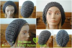 free crochet slouch hat pattern- the chloe- v puff stitch slouch by cre8tion crochet