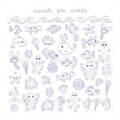 collection of cute doodle sea animals and elements.