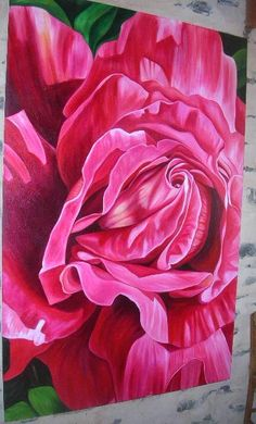 'Velvety Red Rose'  Oil on canvas 1.8m x 1.1m Beautifully rich reds, pinks, crimsons, magentas & burgundies. $5,800