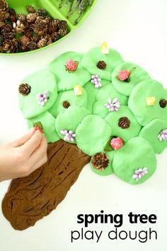 Spring Tree Play Dough Activity for Preschool #playdoh #kidsactivities #finemotor