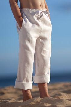 Boys Linen Drawstring Pants