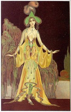 """M. Montedoro, Art Deco postcard 2, 1920s on Flickr.  Click image for 633 x 999 size. Scanned from the book """"A History of Postcards"""" by Martin Willoughby."""