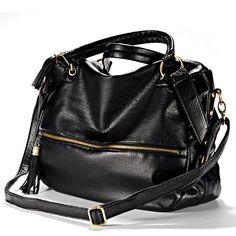 Hot Fashion Large Shoulder Handbag Fringed shoulder strap Imitation varnished Leather Zipper Black