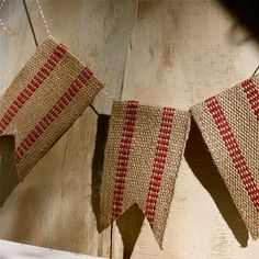 Handmade Vintage style rustic red burlap banner holiday garland