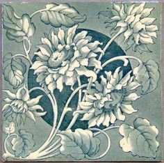 Antique English Transfer Tile of Chrysanthemum  http://www.antiques.com/classified/Antique-Porcelain---Pottery/Antique-Tiles/Antique-English-Transfer-Tile-of-Chrysanthemum